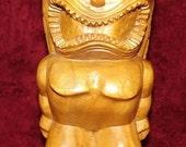 Vintage Handcrafted Wood Tiki Ku God of War Hawaiian Polynesian Pacific Isle Wooden Figurine Statue Intricate Detail Excellent Island Decor