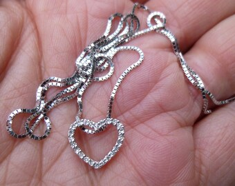 Perfect for Mother's Day....So Sweet 14KT white gold and diamond heart pendent on a 17 inch box chain