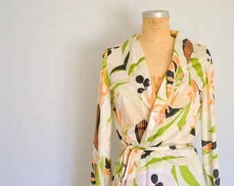 pucci inspired 70's polyester belted robe wrap