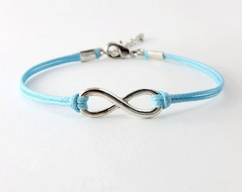 Infinity Bracelet, Light Blue Cord Bracelet, Endless Charm Bracelet, Friendship Bracelet