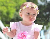 Pink Cream Brown Caramel Spring Lily Dress Floral Crown - Floral Halo Floral Boho Headband Newborn Photo Prop Shabby Chic