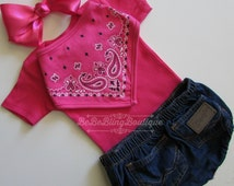 Newborn baby COWGIRL western country take me home outfit  pink WRANGLER denim bloomers outfit pink bodysuit BANDANA bib headband bow