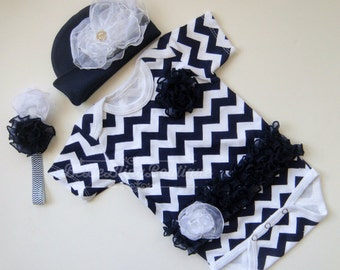 Newborn baby girl NAVY and White CHEVRON Take Me Home outfit complete set beanie headband onesie girl shower gift