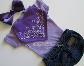 Newborn baby COWGIRL western country take me home outfit  lavender WRANGLER denim bloomers outfit pink bodysuit BANDANA bib headband bow