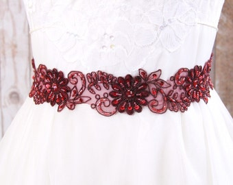 Wine Beaded Lace Sash, Bridal Wine Sash, Bridesmaid Sash, Flower Girl Sash, Dark Red Sash