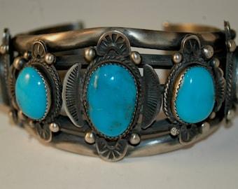 Museam Vintage Navajo Gilbert Tom Deep Blue Morenci Turquoise Silver Bracelet Cuff 103 Grams Stunning