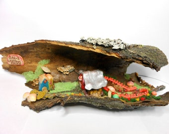 Fairy House/Barn/Ladybug Ranch-Glow in the Dark-OOAK-Whimsical Ladybug Ranch-Bar-B Ladybug Ranch