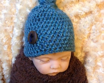 baby boy hat, knot hat, crochet hat, blue hat, photo prop, ready to ship