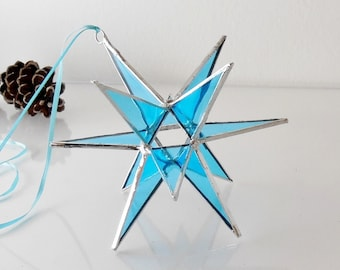 12 Point Moravian Star. Light Blue Star. Stained Glass Star.