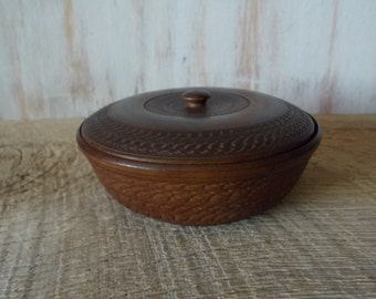 SALE  Antiuqe Treen Folk Art Turned Wooden Bowl / Box
