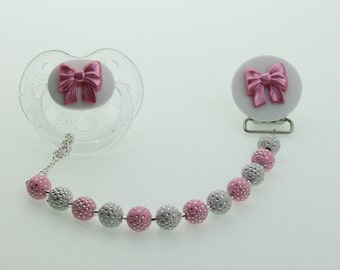 Baby Gift Pacifier Clip with Pink Bow (F2-p) (msrp 26.00)