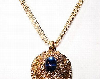 "Disco Ball Pendant Chain Necklace Blue Green Rhinestones Gold Metal Filigree 18"" Vintage"