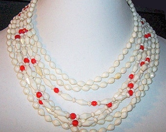 """Red White Bead Necklace West Germany Signed 8 Strands Hook Clasp 16.5"""" Vintage"""