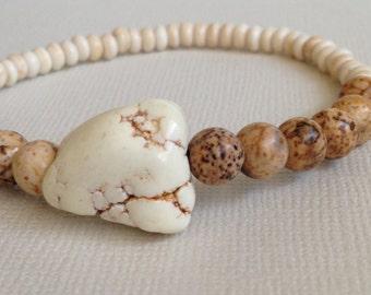 Gemstone, Natural Jasper, Chunky Stretch Bracelet, Howlite, Stacking,Boho