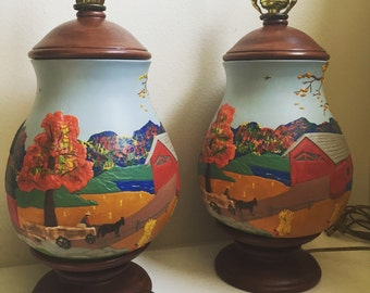 Hand Painted Amish Folk Art Pottery Lamps