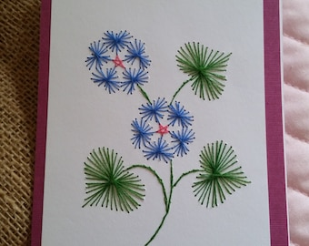 Stitched Blue Heart Flowers Card