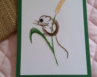 Stitched Brown Field Mouse Card