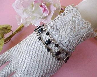Pretty Sterling Silver Bracelet Set with Onyx