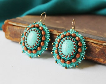 Turquoise Copper Earrings Turquoise Jewelry Cabochon Earrings Tribal Ethnic Earrings Turquoise Dangle Earrings Bead Embroidery MADE TO ORDER