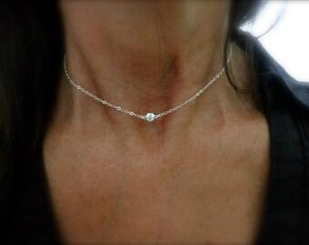 Solitaire CZ  choker sterling silver - single cz charm - cz framed necklace - sterling silver cz charm -gold choker - rose gold choker -