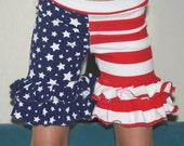 Patriotic shorts sz nb-10 years old ruffled stretchy knit girl shorts