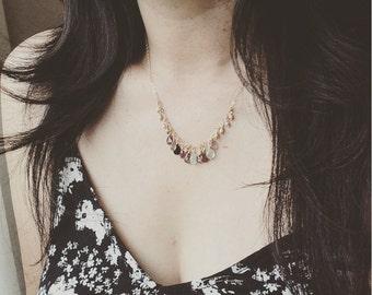 Gemstone Necklace/ 14K Gold Filled Gemstone Necklace/ Colorful Autumn Gemstone Necklace - Handmade by CoCo/ Everyday Wear