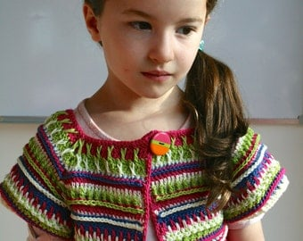 Crochet pattern, girls baby crochet pattern cardigan shrug pattern 210 INSTANT DOWNLOAD sizes 12 months, 2-3 years, 4-5 years, 6-7 years