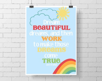 Inspirational Print - rainbow- colorful wall decor - kid poster - Mark Twain - kids room - home decor - girl room print