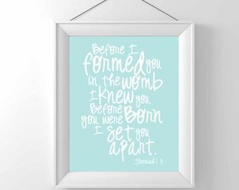 Printable Nursery art- Before you were born I knew you- Jeremiah 1:5 - Art Print Children Wall decor -  Classic gender neutral - Bible