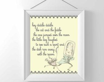 Nursery print - Nursery Rhyme - Hey Diddle Diddle- Children Wall decor - vintage art -  Illustration - Classic - gender neutral