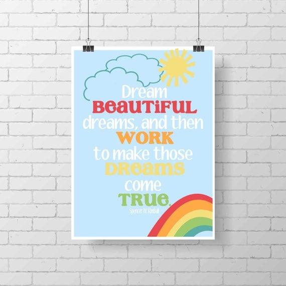 Inspirational Print - rainbow- colorful wall decor - kid poster - Mark Twain - kids room - home decor - girl room print