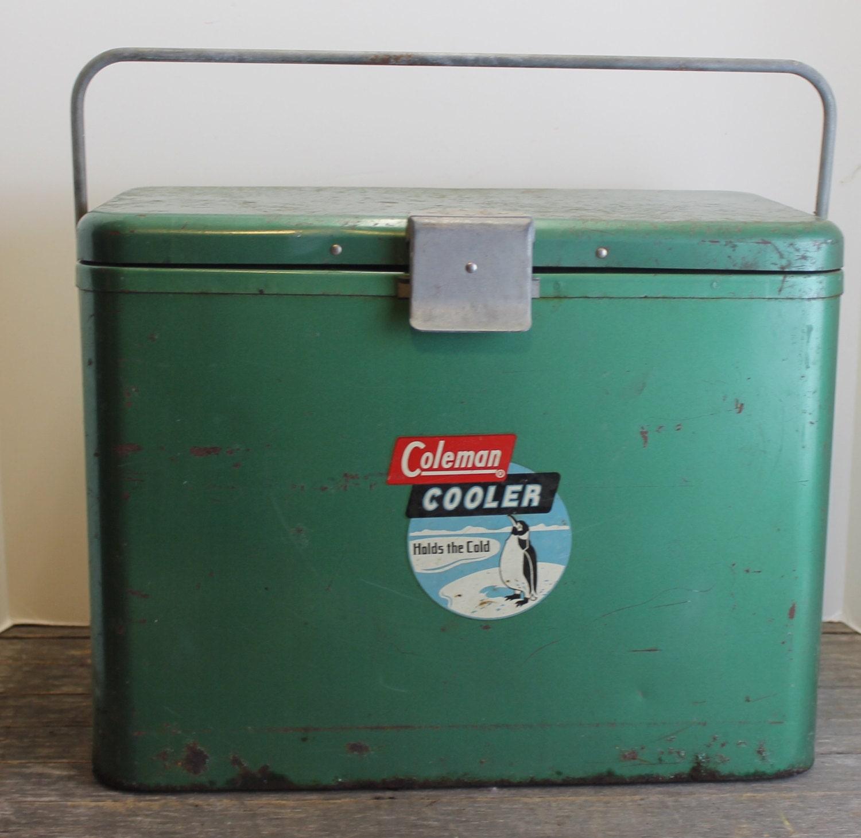 Vintage 1950s Green Metal Coleman Cooler With Handle