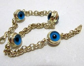 14K SOLID yellow GOLD blue bead evil eye bracelet 14k stamped turkish jewelry