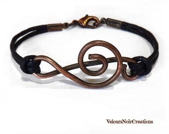 Handmade copper treble clef bracelet