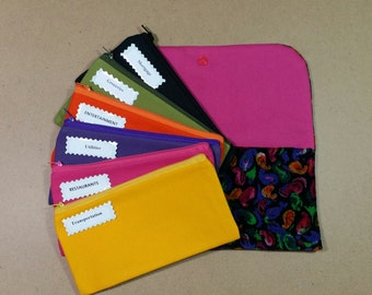Cash Envelope Wallet, Fabric Cash Envelopes - Paisley Multicolor Corduroy (It can be used with the Dave Ramsey system)