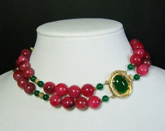 JADE & GREEN AGATE Two Strand Choker with Statement Clasp - Rare Cherry Jade - One of a Kind Designer Piece - Can Be Worn Two Ways