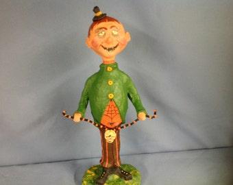 Paper mâché sculpted Halloween trick or treater figurine
