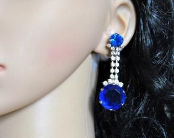 Huge Swarovski Chandelier Earrings Drop Vintage Blue Dangle White Bauble Precious Colors Jewelry