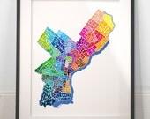 Philadelphia art print, typography map art, philadelphia poster print, philadelphia wall decor, philadelphia typography, wedding gift idea