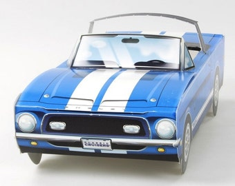 67 Blue Shelby GT 500  Mustang Food Box,Popcorn Box Kids Brithday Party Set of 5