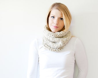 The SOLOMON cowl - knit scarf chunky scarf cowl scarf  - oatmeal