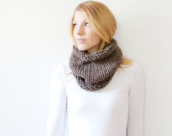 the SOLOMON cowl - knit cowl scarf chunky scarf cowl scarf  - barley