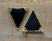 3 - Black Triangle Enamel Pendant with 24K Gold Plating Flag Connector Gemstone Jewelry Making Supplies (K008)