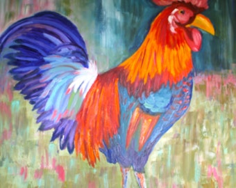 Original Rooster Oil Painting / 36 x 36 / Gallery Wrapped Canvas
