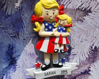 Personalized American Girl Doll Blonde Christmas Ornament