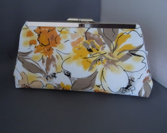 Yellow, Taupe, Mustard, Beige Floral Wedding Clutch, Mother of the Bride Clutch, Bridal Clutch