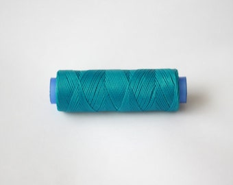 1 spool waxed cord, 110 yards (100 meters) turquoise  Waxed Linen Cord, Macrame Cord, Polyester Cord, waxed cord Macrame Thread