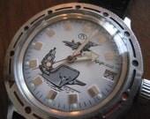 Vintage mens waterproof watch.Russian Bostok.  Divers watch. Aircraft carrier.
