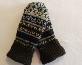 Felted Wool Mittens Recycled from Felted Wool Sweaters, Fleece Lined -Men's Mittens