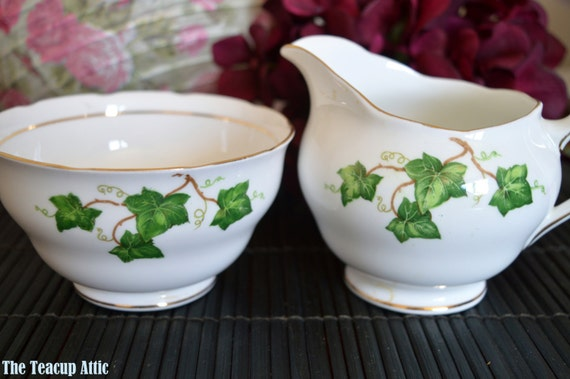 ON SALE Colclough Large Cream and Sugar Ivy leaf circa 1948